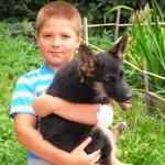 Мальчик со щенком на руках, которого ему подарили