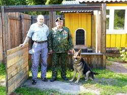 Немецкая овчарка Алекс со своим владельцем после курса дрессировки ЛИРОС