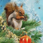 Новогодняя открытка с белочкой
