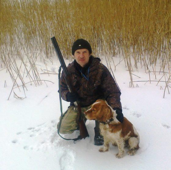 Михаил Львович со своим помощником на охоте, русским охотничьим спаниелем Диком